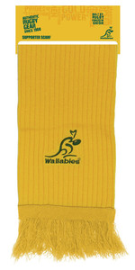 Wallabies Gold Embroidered Rib Scarf